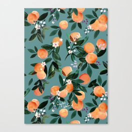 Dear Clementine - oranges teal by Crystal Walen Canvas Print