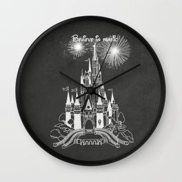 Chalkboard Art Castle Magic Fireworks Wall Clock