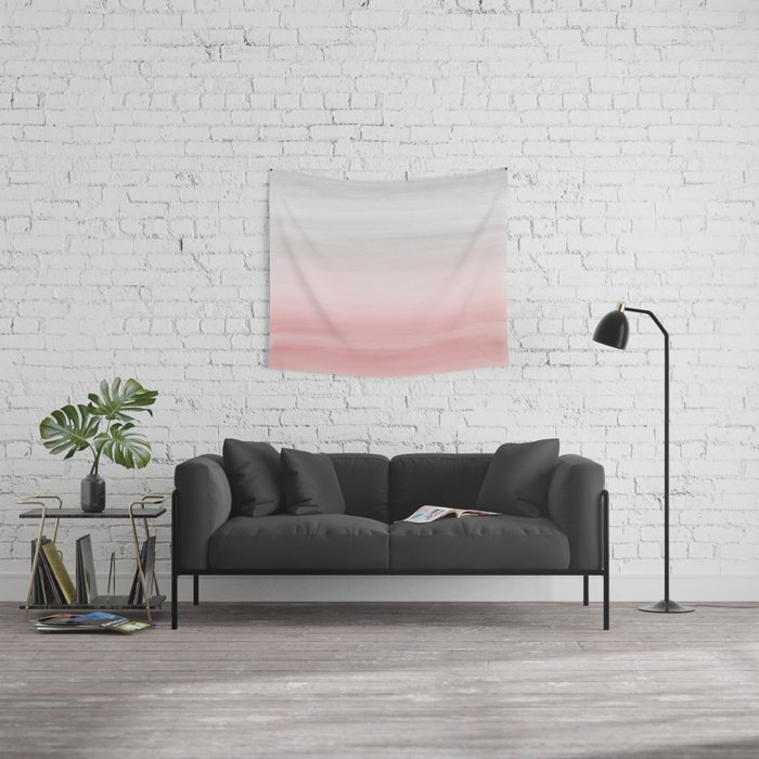 Touching Blush Gray Watercolor Abstract #1 #painting #decor #art #society6 Wall Tapestry