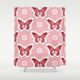 Chinoiseries Porcelain Butterfly Red Shower Curtain