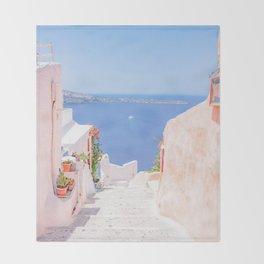 Santorini Greece Mamma Mia pink street travel photography Throw Blanket