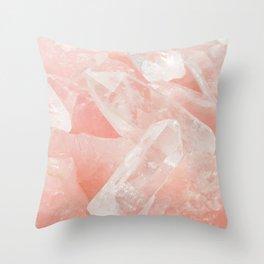 Light Pink Rose Quartz Crystals Throw Pillow
