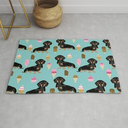 dachshund ice cream black and tan doxie dog breed cute pattern gifts Rug