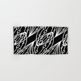 White molecular helix with diagonal circles on a black background. Hand & Bath Towel