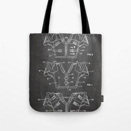 Football Pads Patent - American Football Art - Black Chalkboard Tote Bag