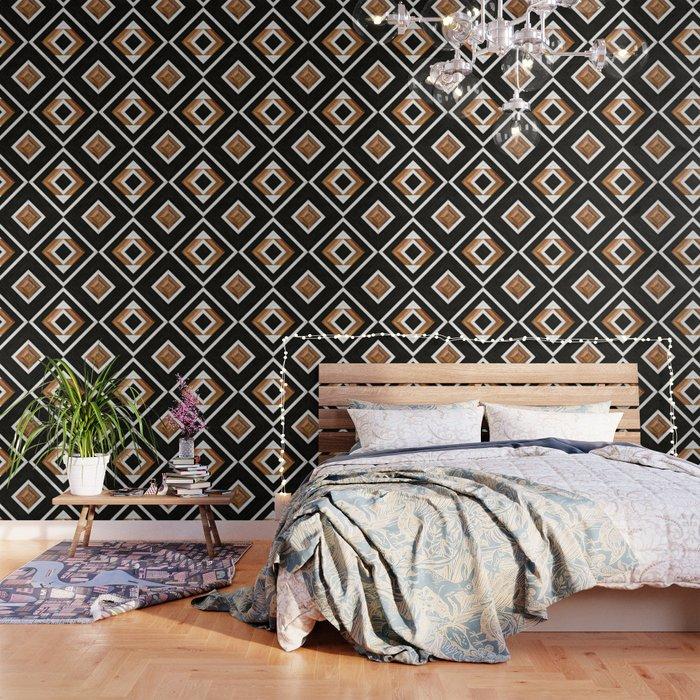 Urban Tribal Pattern 1 - Concrete and Wood Wallpaper
