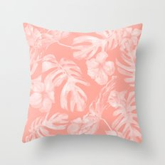 Tropical Hibiscus Palm Leaves Coral Pink Throw Pillow
