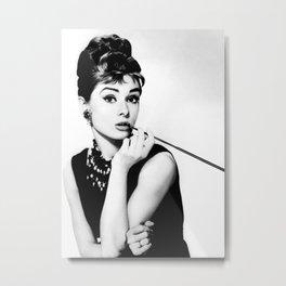 Audrey Hepburn Portrait, Black and White Vintage Art  Metal Print
