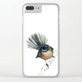 Mr Pīwakawaka, New Zealand native bird fantail Clear iPhone Case