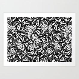 Monarch Butterflies Pattern   Butterfly Pattern   Black and White   Art Print