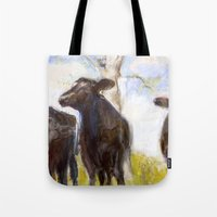 chicago bulls Tote Bags featuring 3 Bulls  by Sabine Weissbach
