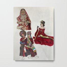 Sketchbook The Red Dresses Metal Print