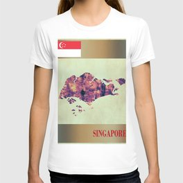Singapore Map with Flag T-shirt