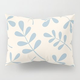 Assorted Leaf Silhouettes Blue on Cream Pillow Sham
