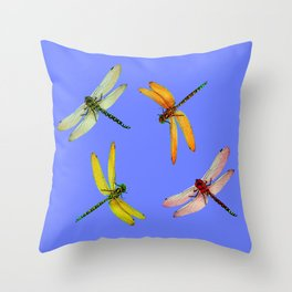 COLORFUL DRAGONFLIES IN BLUE SKY  DESIGN Throw Pillow