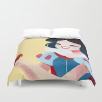 snow white Duvet Covers featuring Snow White by Chabe Escalante