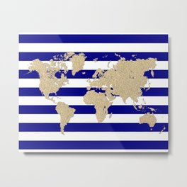Gold glitter and blue stripes world map Metal Print