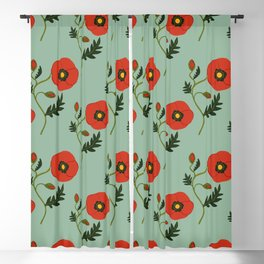 Red Poppy Blackout Curtain