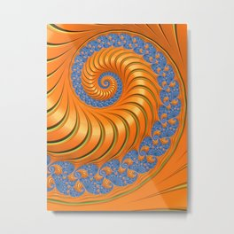 Orange Crush Fractal Swirl Metal Print
