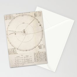 Richard Cumberland - Chart of the Solar System 1727 Stationery Cards