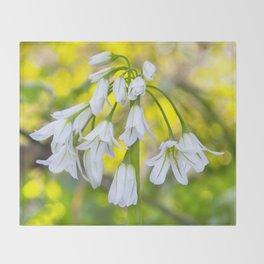 White woodland flora. Throw Blanket