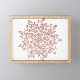 Mandala Flowery Rose Gold on White Framed Mini Art Print