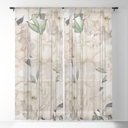 Peonies Pattern Sheer Curtain