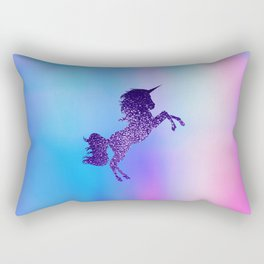 Purple Sparkly Unicorn Rectangular Pillow