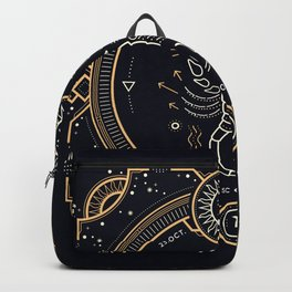 Scorpio Zodiac Golden White on Black Background Backpack