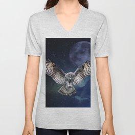 Owl in Flight Unisex V-Neck