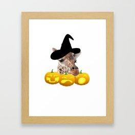 Halloween Giraffe Witch Hat Jackolanterns Framed Art Print