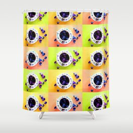 Tea Cups and Violets Shower Curtain
