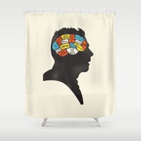 shaun of the dead Shower Curtains featuring Shaun Phrenology by Wharton