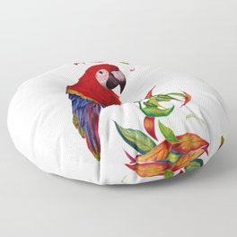 red parrot with rainbow leaves Floor Pillow
