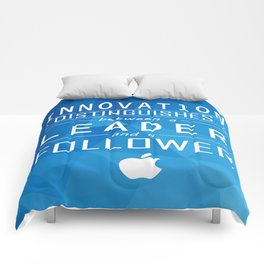 Innovation distinguishes between a leader and a follower Business Inspirational Quote Comforters