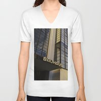 bauhaus V-neck T-shirts featuring Bauhaus Sunset by Nat Alonso