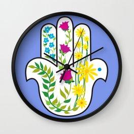 Hamsa Periwinkle Blue Wall Clock