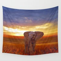 baby elephant Wall Tapestries featuring  Elephant baby by valzart