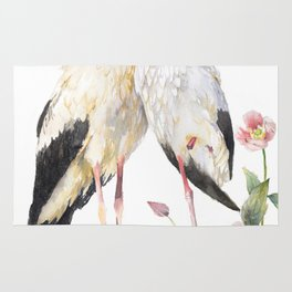 Two Storks Watercolor Painting, Wildlife Art, Clematis Plant, Wild Birds Rug