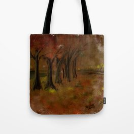 The Trees Beside the Lake Tote Bag