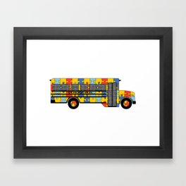 Autism Awareness School Bus Framed Art Print