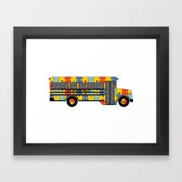 Autism Awareness School Bus Framed Art Print