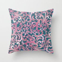 Pink on Green - Paisley Throw Pillow