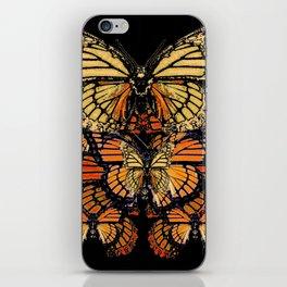 CREAM & RUST COLOR MONARCH BUTTERFLIES BLACK PATTERN ART iPhone Skin