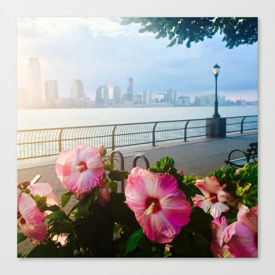 Battery Park New York City Skyline with Pink Hibiscus Flowers Canvas Print