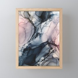 Blush, Navy and Gray Abstract Calm Clouds Framed Mini Art Print