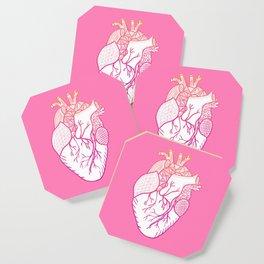 Designer Heart Pink Background Coaster