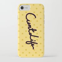 cunt iPhone & iPod Cases featuring cunt life yellow by Andy Aidekman