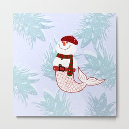 Snowman Mermaid Metal Print