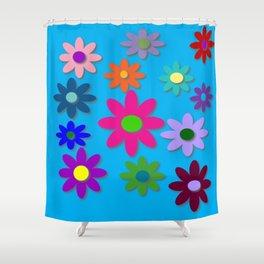 Flower Power - Blue Background - Fun Flowers - 60's Hippie Style Shower Curtain
